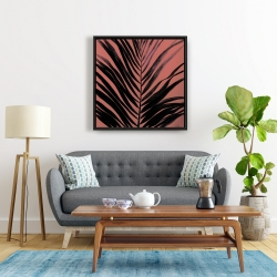 Framed 24 x 24 - Coral tropical palm leave