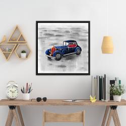 Framed 24 x 24 - Vintage blue toy car