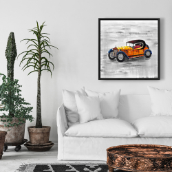 Framed 24 x 24 - Yellow vintage car toy
