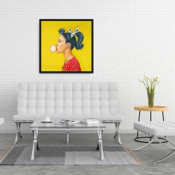 Framed 24 x 24 - Retro woman with beautiful ponytail