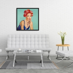 Framed 24 x 24 - Pin up girl with curlers