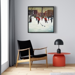 Framed 24 x 24 - Young hockey players