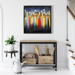 Framed 24 x 24 - Colorful reflection of a cityscape by night