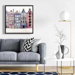Framed 24 x 24 - Old historic houses amsterdam