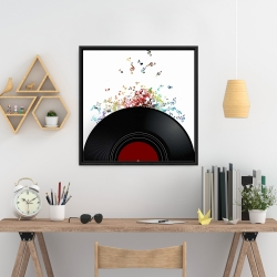 Framed 24 x 24 - Notes escaping from a vinyl record
