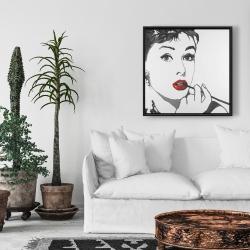 Framed 24 x 24 - Audrey hepburn outline style