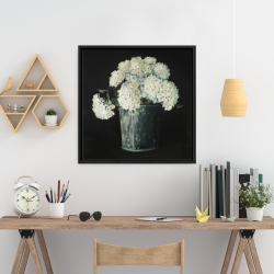Framed 24 x 24 - White hydrangea flowers