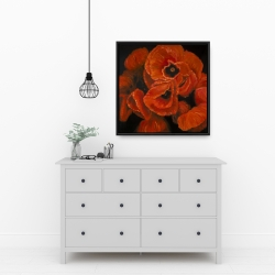 Framed 24 x 24 - Poppy bouquet