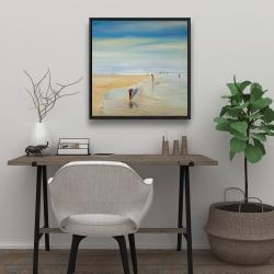 Framed 24 x 24 - Children at the beach