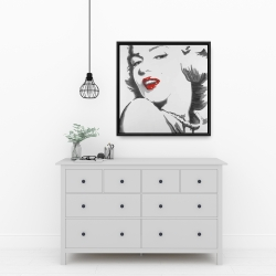 Framed 24 x 24 - Marilyn monroe outline style