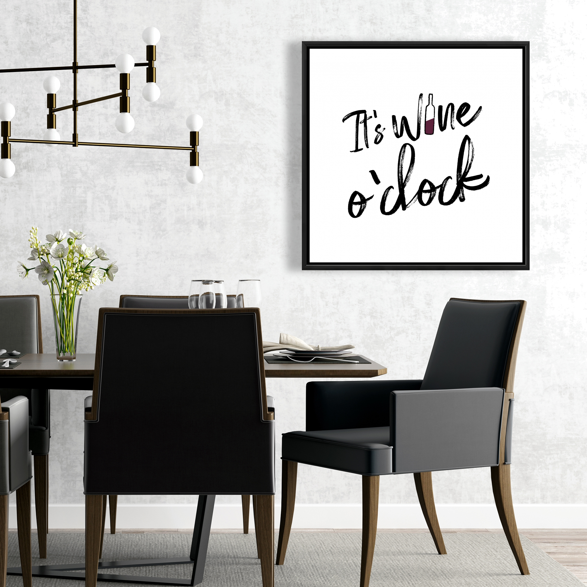 Framed 24 x 24 - It's wine o'clock ii