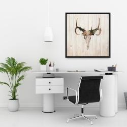 Framed 24 x 24 - Mule deer skull with roses