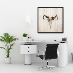 Framed 24 x 24 - Mule deer skull with roses