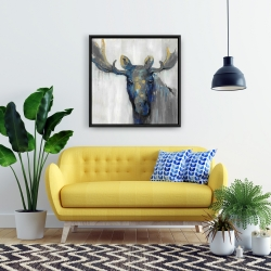 Framed 24 x 24 - Blue moose