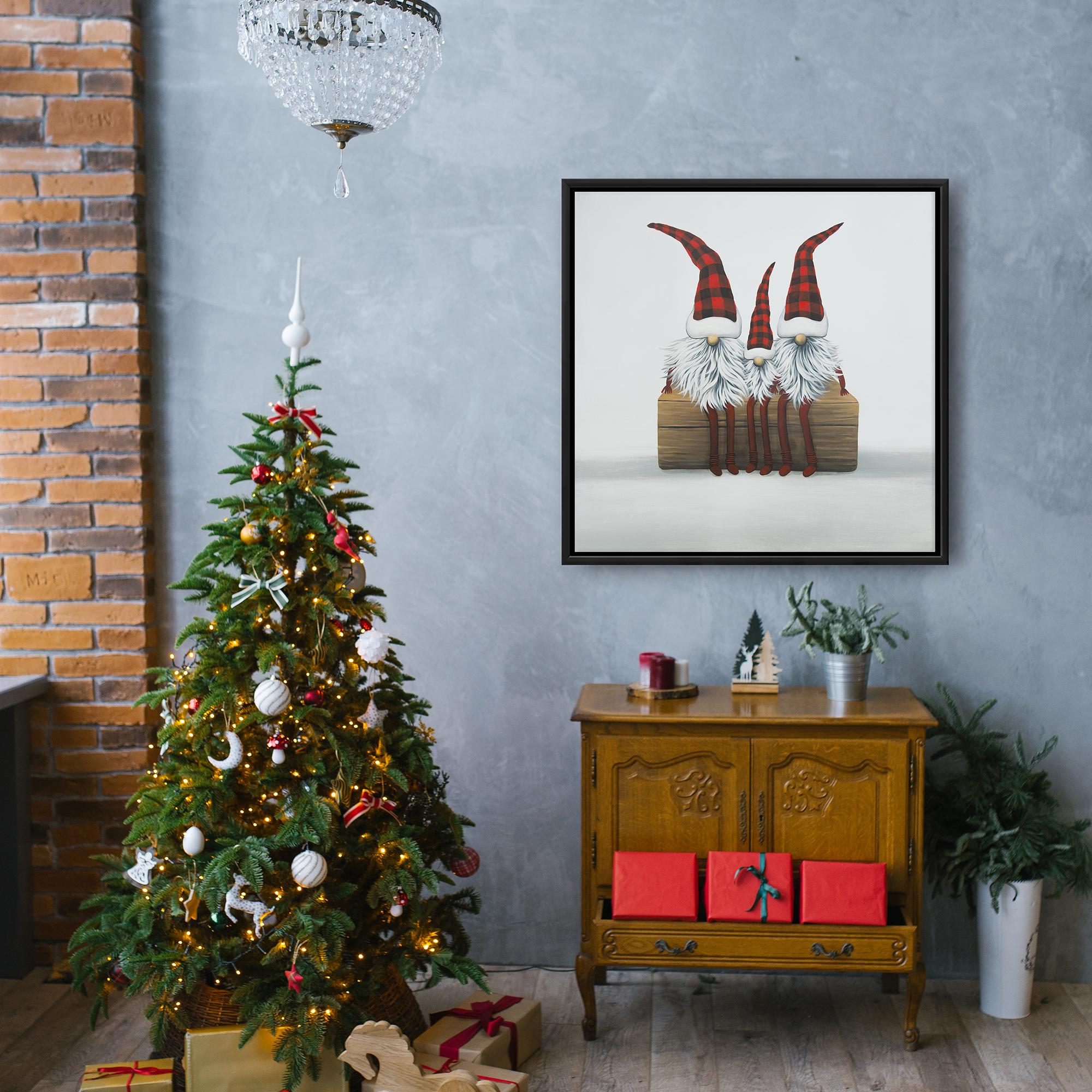 Framed 24 x 24 - Three christmas gnomes