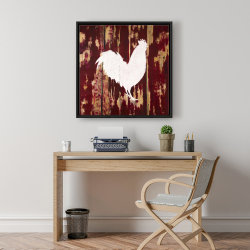 Framed 24 x 24 - Rooster silhouette