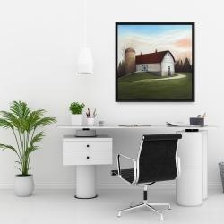 Framed 24 x 24 - White barn view