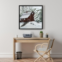 Framed 24 x 24 - Red barn in snow