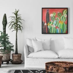 Framed 24 x 24 - Rainbow cactus