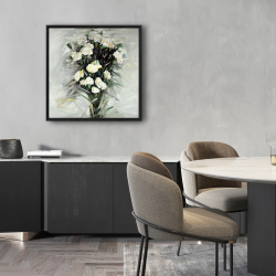 Framed 24 x 24 - Lisianthus white bouquet