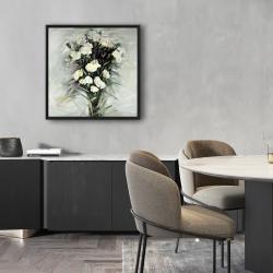 Framed 24 x 24 - Lisianthus white bouquet