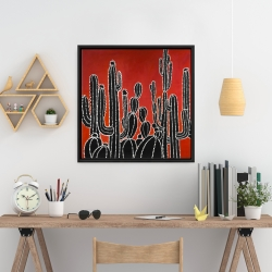 Framed 24 x 24 - Black tall cactus