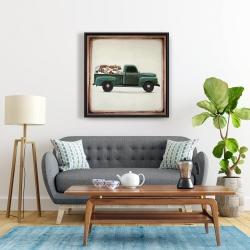 Framed 24 x 24 - Flowers farm truck