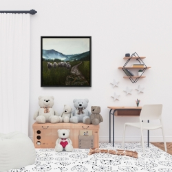 Framed 24 x 24 - Sheep in the countryside