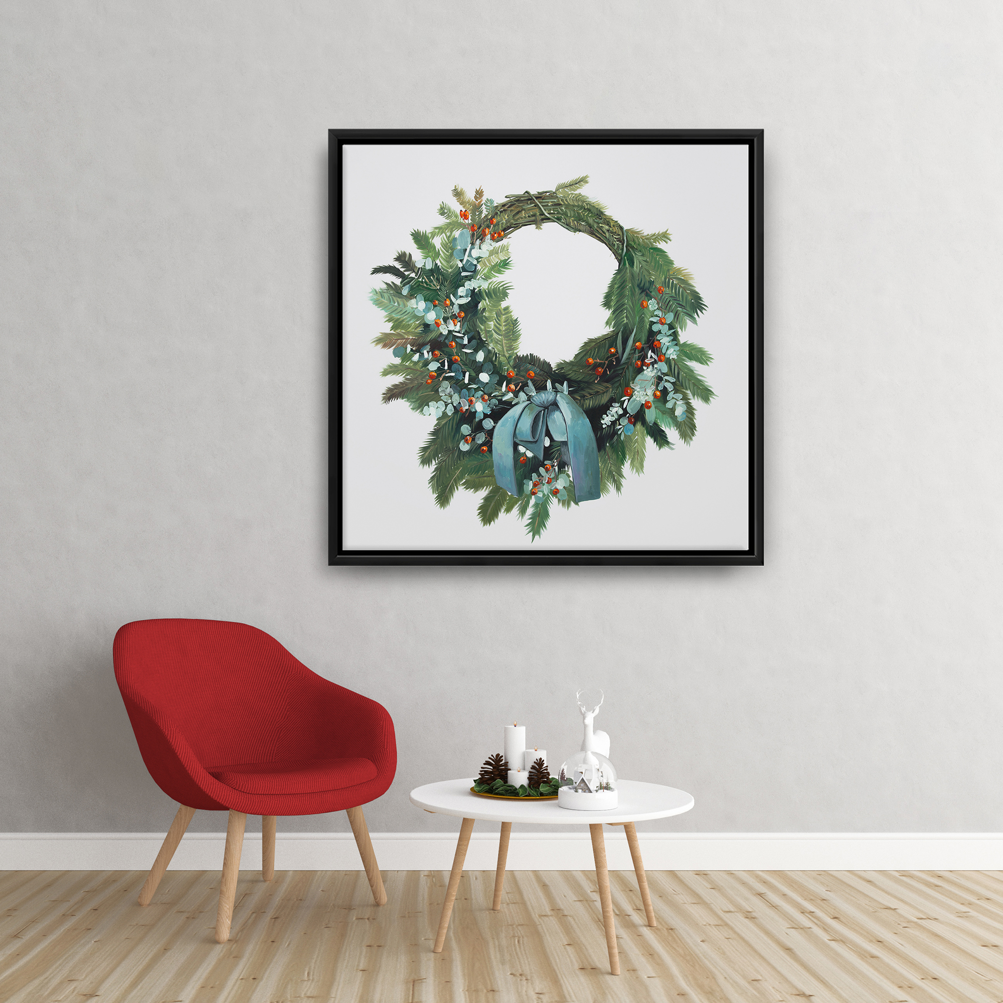 Framed 24 x 24 - Christmas wreath