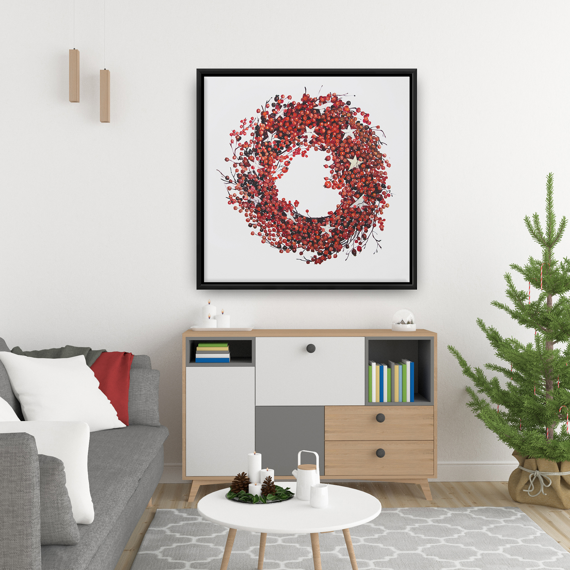 Framed 24 x 24 - Red berry wreath
