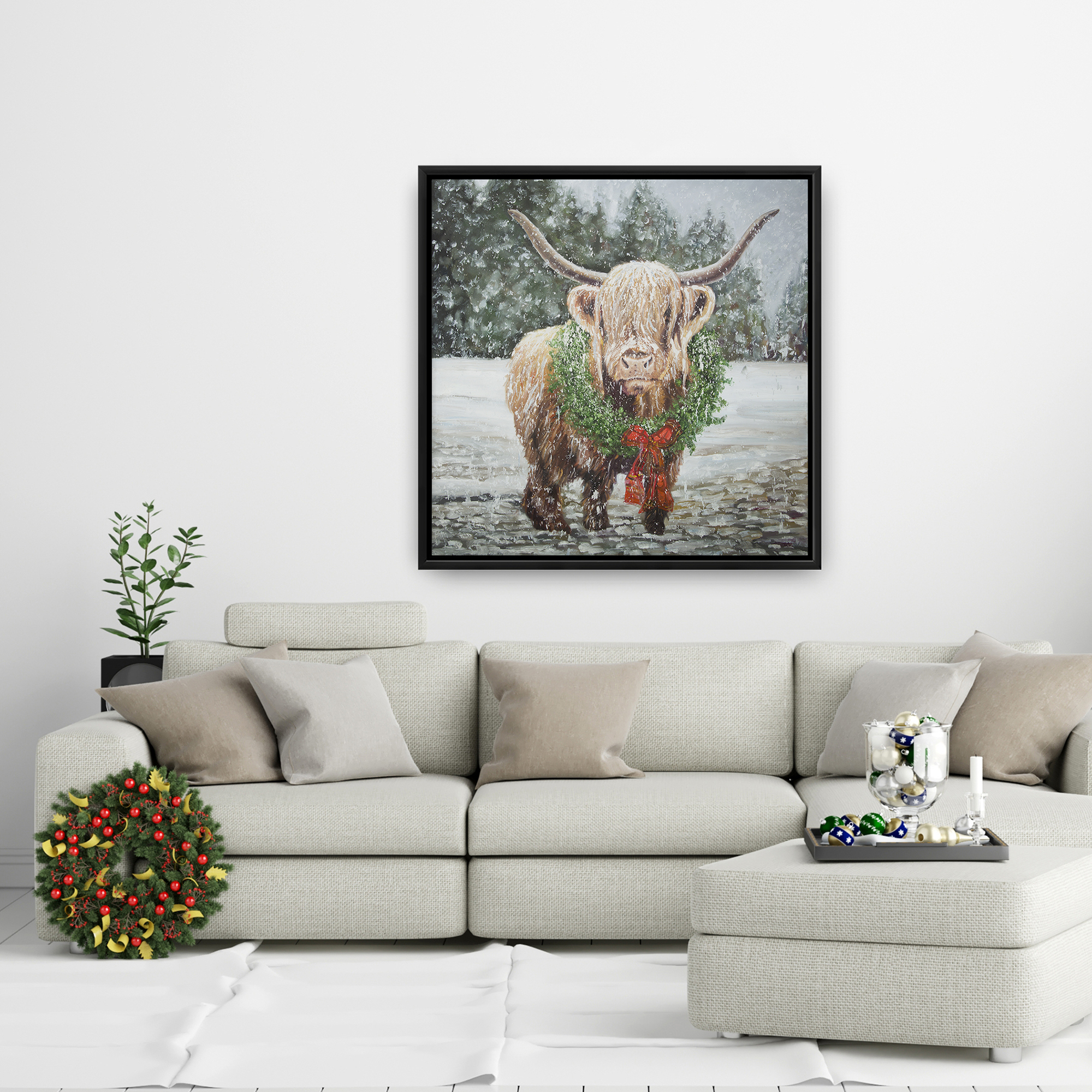 Framed 24 x 24 - Highland christmas cow