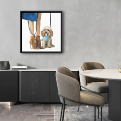 Framed 24 x 24 - Fashionable cavoodle dog