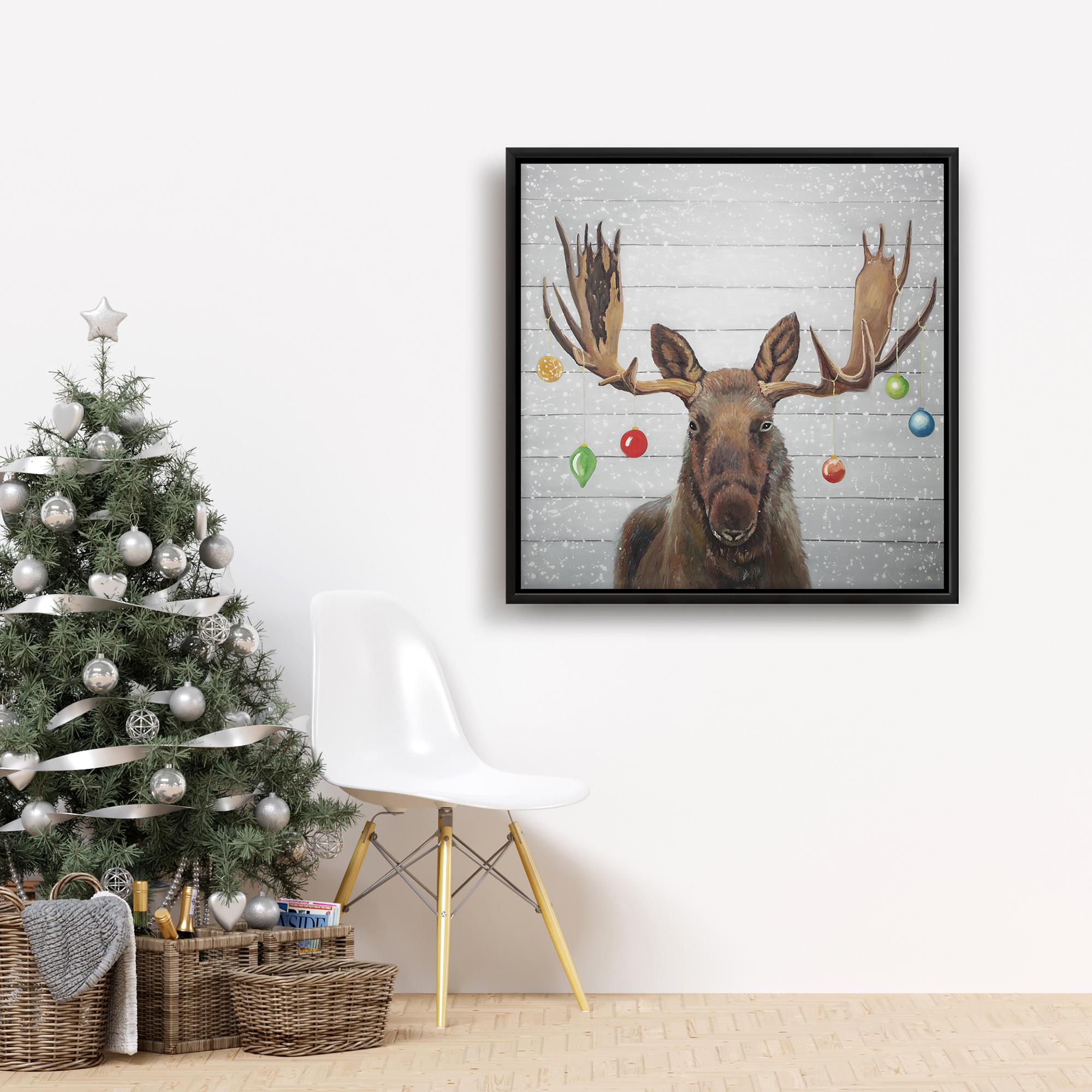 Framed 24 x 24 - Moose has christmas balls