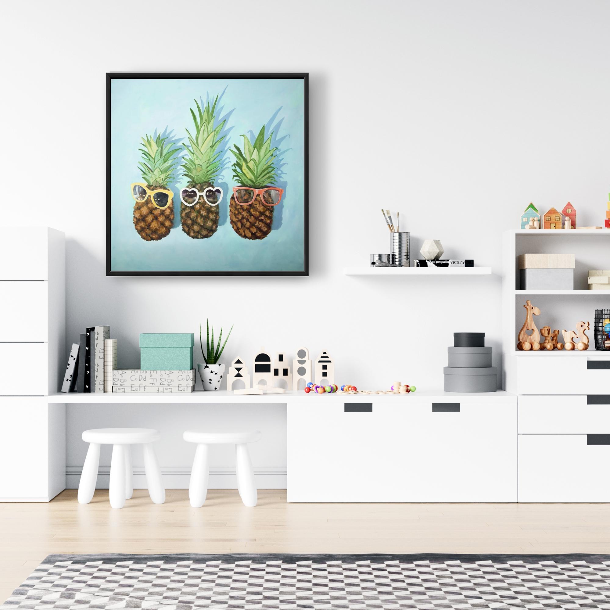 Framed 24 x 24 - Summer pineapples