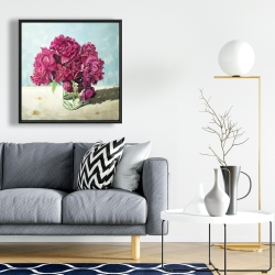 Framed 24 x 24 - Fuchsia peony