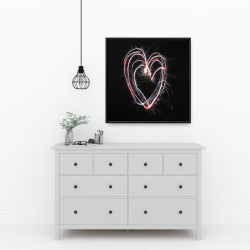 Framed 24 x 24 - Red & blue fireworks heart