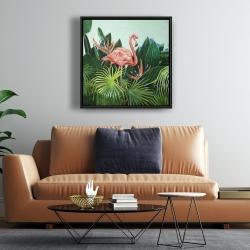 Framed 24 x 24 - Tropical flamingo