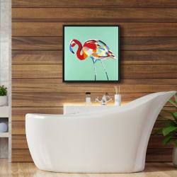 Framed 24 x 24 - Multicolored flamingo