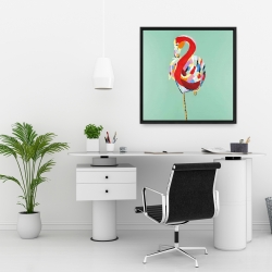 Framed 24 x 24 - Colorful abstract flamingo