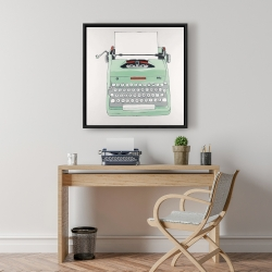 Framed 24 x 24 - Mint typewriter