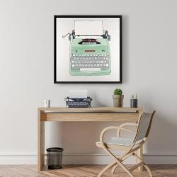 Framed 24 x 24 - Mint typewriter