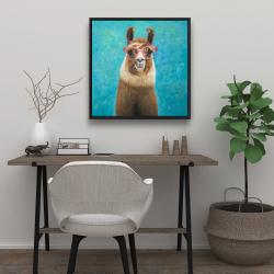 Framed 24 x 24 - Lovable llama