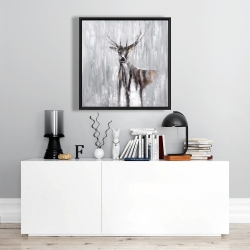 Framed 24 x 24 - Abstract deer in the forest