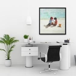 Framed 24 x 24 - Little girls at the beach