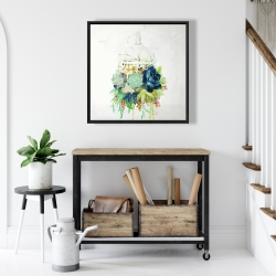 Framed 24 x 24 - Bird cage with cactus