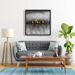Framed 24 x 24 - Gold sailboats
