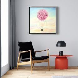 Framed 24 x 24 - Hot air balloon hydrangea flowers
