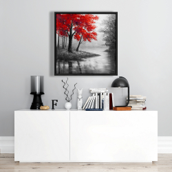 Framed 24 x 24 - Red trees and lake
