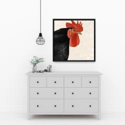 Framed 24 x 24 - Black hen