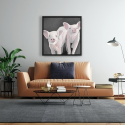 Framed 24 x 24 - Two little piglets